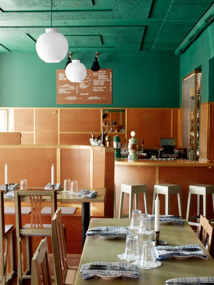 Designbyrået har forestilt seg en restaurant på en jernbanestasjon ...